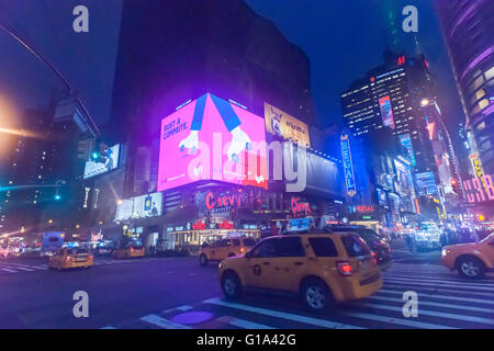Ad in Times Square in New York for the Lyft ridesharing service on Tuesday, May 3, 2016.  (© Richard B. Levine) - Stock Photo