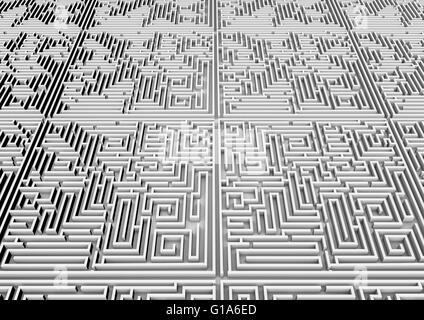 Maze background / 3D render of giant maze stretching to horizon - Stock Photo