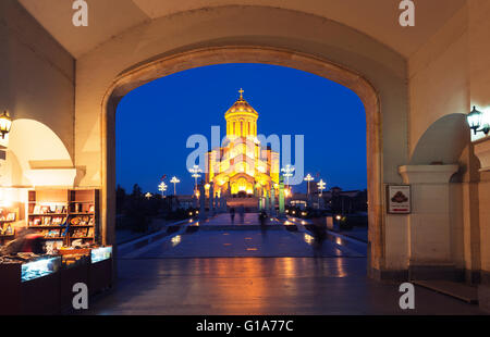 Eurasia, Caucasus region, Georgia, Tbilisi, Tbilisi Sameda Cathedral (Holy Trinity) biggest Orthodox Cathedral in - Stock Photo