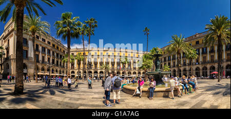 People at the fountain at Placa Reial in central Barcelona Spain Europe - Stock Photo