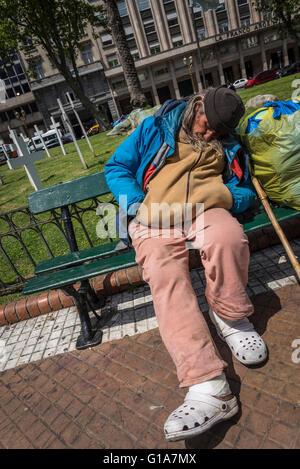 Homeless person, Plaza de Mayo, May Square, Buenos Aires, Argentina - Stock Photo