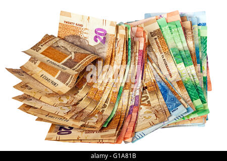 Isolated studio shot of crumpled stack of South African Rand Bank Notes - Stock Photo