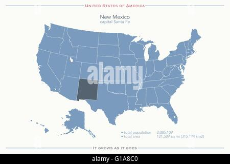 United States of America maps and New Mexico state territory. vector ...