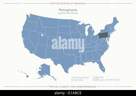 united states of america isolated map and pennsylvania state territory vector usa political maps