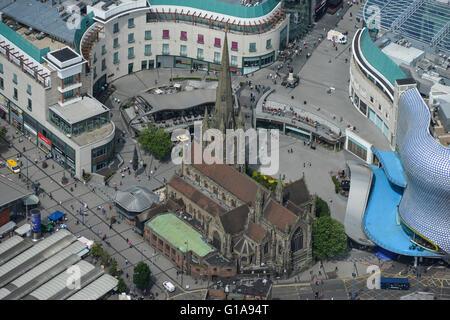 An aerial view of St Martin in the Bull Ring, the original parish church of Birmingham - Stock Photo