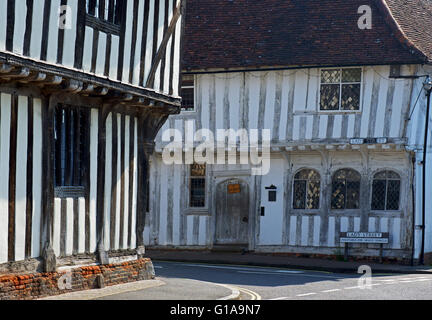 Half-timbered houses in the village of Lavenham, Suffolk, England UK - Stock Photo