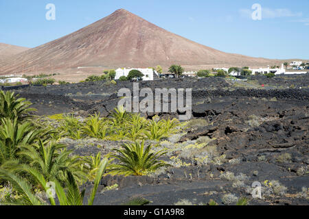 Volcanic cone and lava flows village of Tahiche, Lanzarote, Canary Islands, Spain - Stock Photo