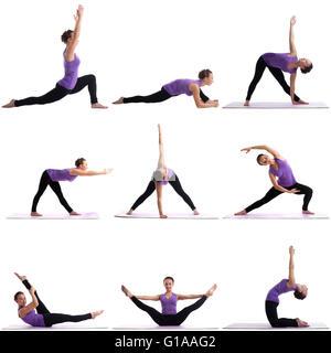 Photo collage of pretty woman doing yoga - Stock Photo
