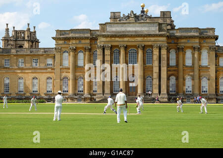 A cricket match being played on the lawn at Blenheim Palace in Oxfordshire - Stock Photo