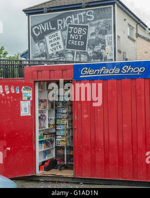 Civil Rights Mural & Glenfada shop at the Bogside Estate. Derry Londonderry. Northern Ireland. UK. Europe - Stock Photo