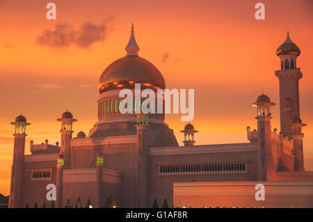 The Saifuddin mosque at sunset in Bandar Seri Bagawan, Brunei - Stock Photo