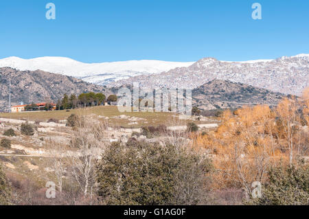 Views of Guadarrama Mountains, In Madrid Province, Spain. It can be seen La Pedriza, with El Yelmo Peak - Stock Photo