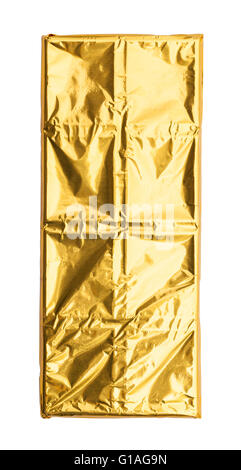 Chocolate Bar with Gold Foil Isolated on White Background. - Stock Photo