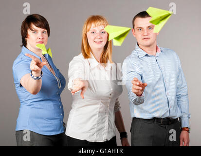 throwing paper planes - Stock Photo