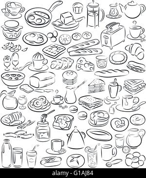vector illustration of breakfast icon collection in line art mode - Stock Photo