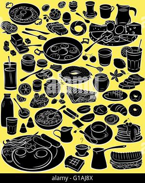 Vector illustration of breakfast collection in silhouette mode on yellow background - Stock Photo