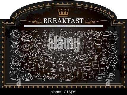 vector illustration of breakfast graphic elements on blackboard - Stock Photo