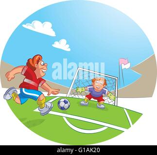 Vector illustration of a goal keeper and soccer player boy dribbling a soccer ball - Stock Photo