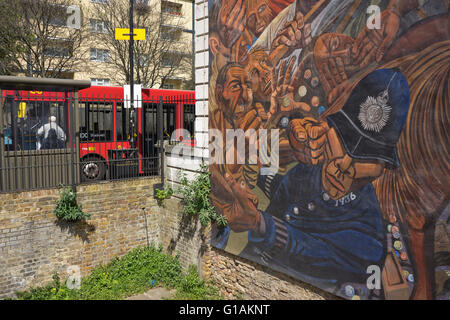 The Battle of Cable Street mural in east London, UK - Stock Photo