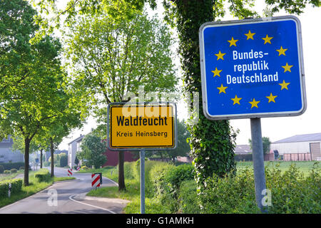 Sign at the border of The Netherlands and Germany near the village Waldfeucht - Stock Photo