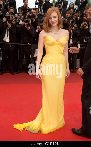 Cannes, France. 11th May, 2016. Actress Jessica Chastain attends the world premiere of Cafe Society and opening - Stock Photo