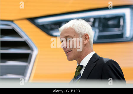 Ingolstadt, Germany. 12th May, 2016. Matthias Mueller, chairman of the Audi supervisory board and Volkswagen CEO, - Stock Photo