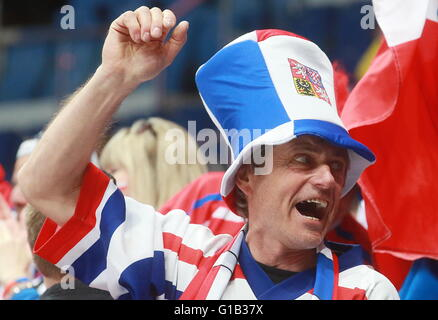 MOSCOW, RUSSIA. MAY 12, 2016. Czech Republic's fan rooting for his team in the 2016 IIHF World Championship Preliminary - Stock Photo