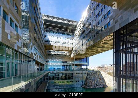 France, Herault, Montpellier, district of Port Marianne, City hall of the architects Jean Nouvel and Francois Fontes - Stock Photo