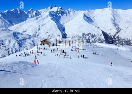 France, Savoie, Valley Maurienne, Valloire, The Crey du Quart, Needles of Arves (3514m) in the background - Stock Photo