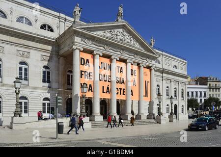 Portugal, Lisbon, the Dom Pedro IV Square, the Dona Maria II National Theater - Stock Photo
