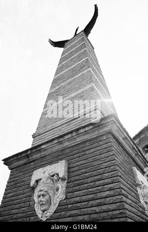 MUKACHEVO,UKRAINE - APRIL 11,2016: Statue of Turul eagle symbol of the Austro- Hungarian Empire and Hungary at Palanok - Stock Photo