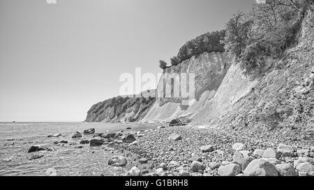 Black and white picture of chalk cliffs on the Ruegen Island, Jasmund National Park, Mecklenburg Vorpommern region - Stock Photo