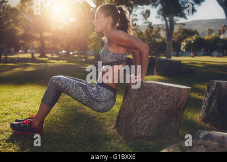 Young woman practicing push ups in a park. Side view shot of muscular female exercising with a log. - Stock Photo