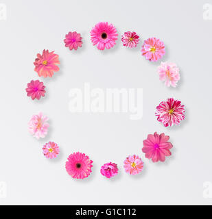 Frame Made from Summer Pink Flowers - Stock Photo