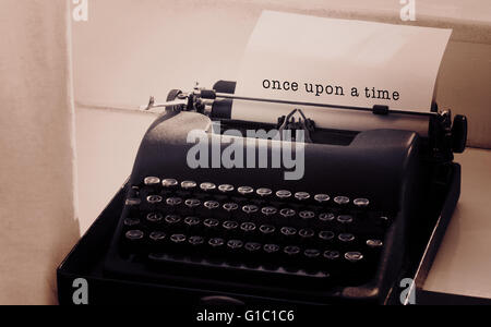 Composite image of once upon a time message on a white background - Stock Photo