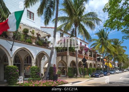 MEDITERRANEAN STYLE SHOPPING ARCADE WORTH AVENUE PALM BEACH FLORIDA USA - Stock Photo