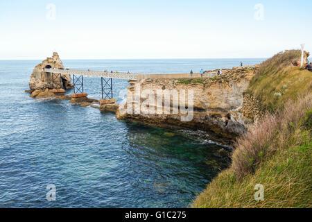 Bridge to la rocher de la vierge, virgin mary rock. Aquitaine, basque country, Biarritz, France. - Stock Photo