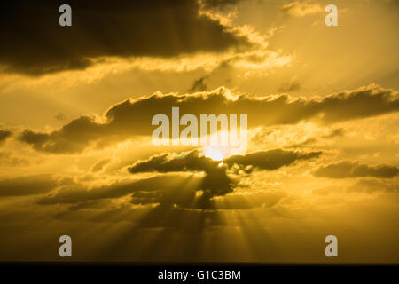 Sunset over the Atlantic Ocean, Lanzarote, Canary Islands, Spain - Stock Photo