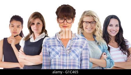 Composite image of pretty woman in glasses - Stock Photo