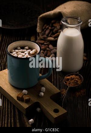 Retro mug with homemade hot chocolate and marshmallow - Stock Photo