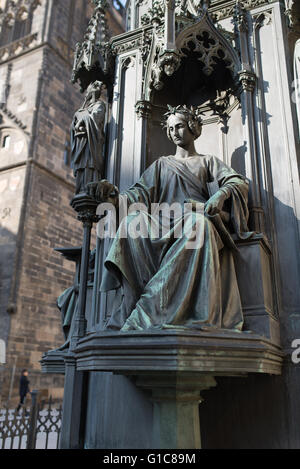 King Charles IV Monument with Four Allegorical Statues - Artistic, Theological, Law and Medicine,  Prague, Czech - Stock Photo