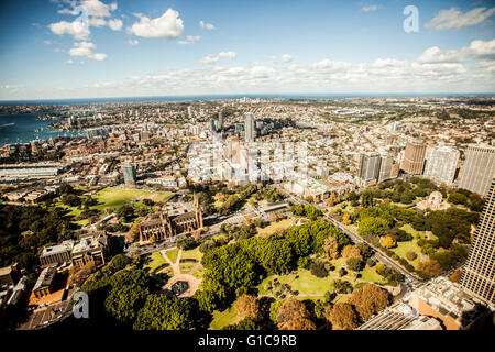 Hyde Park in Sydney, Australia with St. Mary's Cathedral and a war memorial - Stock Photo