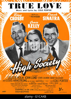 UK sheet music for the Cole Porter song True Love from the 1956 film High Society, starring Bing Crosby, Grace Kelly - Stock Photo