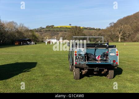 village cricket  scoreboard.park, green, garden, oak, golf, tree, meadow, club, nobody, lawn, course, grass, land - Stock Photo