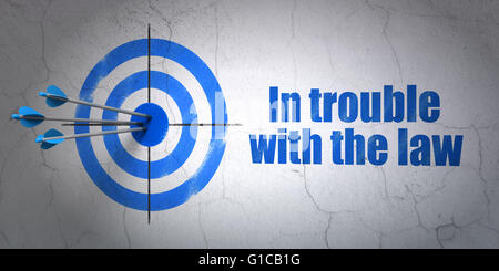 Law concept: target and In trouble With The law on wall background - Stock Photo