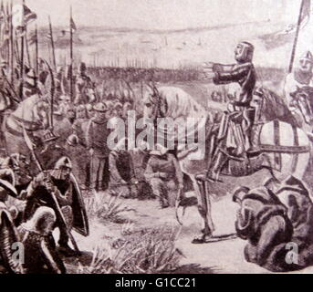 Engraving depicting King Philip II of France (1165-1223) asking the blessing of god upon his troops - Stock Photo