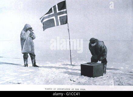 Taking an observation at the pole. In: 'The South Pole', by Roald Amundsen, 1872-1928 - Stock Photo