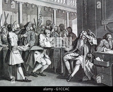 The Industrious 'Prentice Alderman of London, by William Hogarth (1697 – 1764). English painter, printmaker, pictorial - Stock Photo