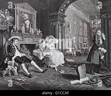 The Tête à Tête from Marriage à-la-mode, 1743 - 1745; by William Hogarth. depicts the marriage as already beginning - Stock Photo