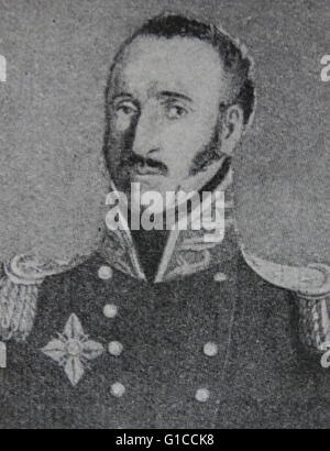 Portrait of General Guglielmo Pepe (1783-1855) an Italian general and patriot, and the son of Cesare Balbo. Dated - Stock Photo